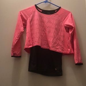 Pink and black crop with tank underneath